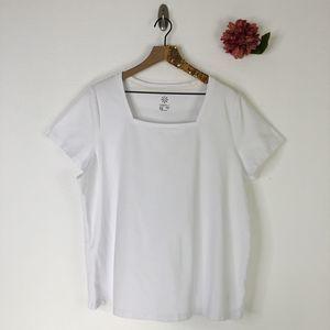 ISAAC MIZRAHI Square Neck T-Shirt